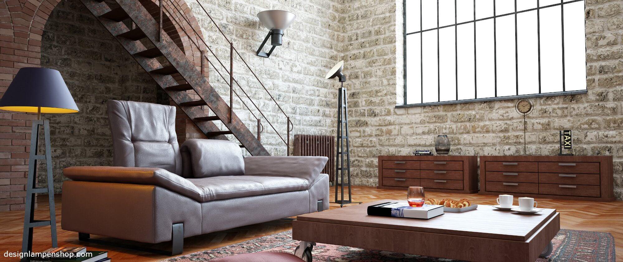 Stehlampen im WOhnzimmer oder einem Loft
